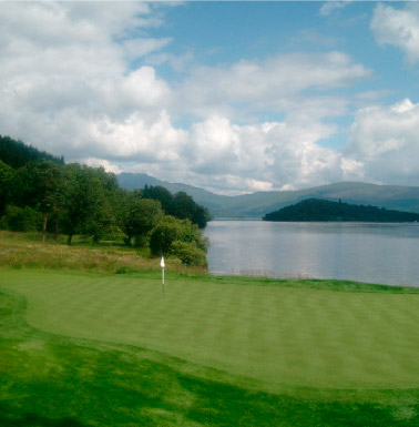Loch Lomond Golf Club 17th Green, looking across Loch Lomond to Ben Lomond. CC-BY-SA/2.0 - © Mike and Kirsty Grundy - geograph.org.uk/photo/61821