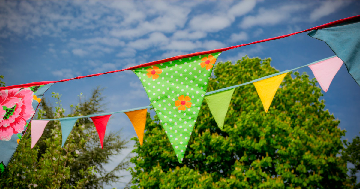 Bunting. Image source: https://pixabay.com/photos/bunting-flags-celebration-1342240/