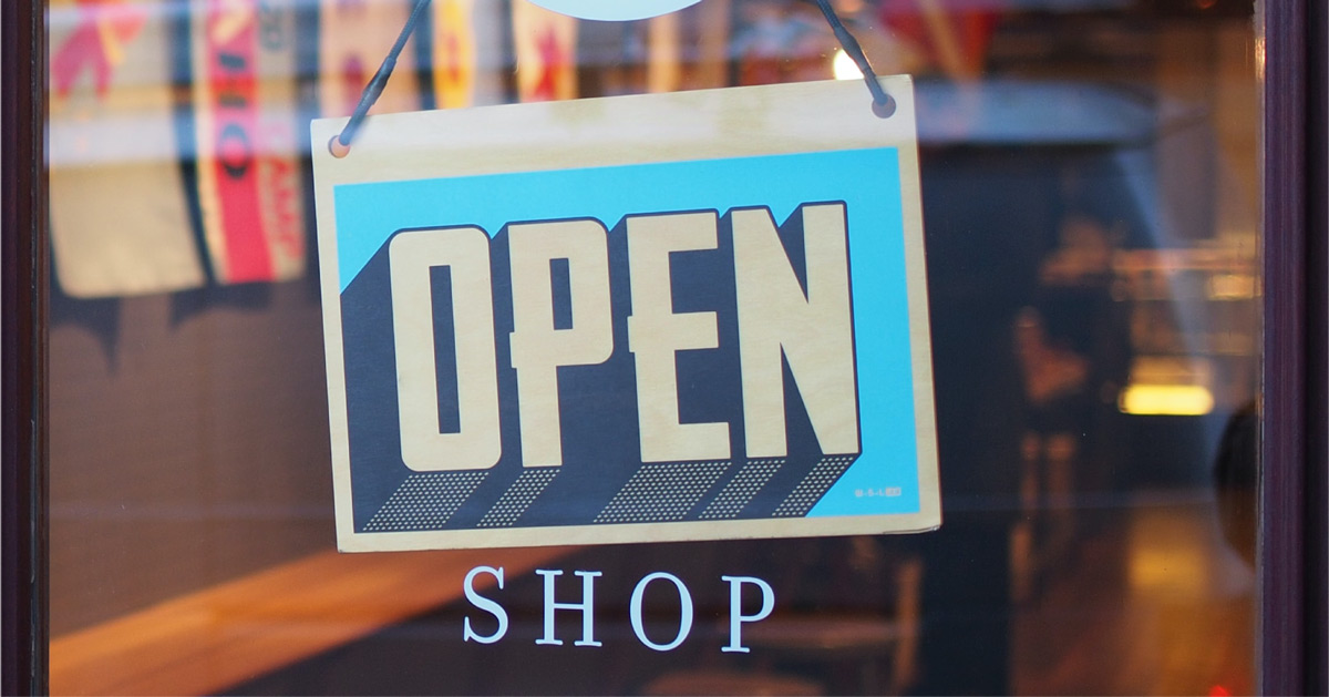 Shop Open Sign. Image source: https://unsplash.com/photos/c9FQyqIECds Mike Petrucci