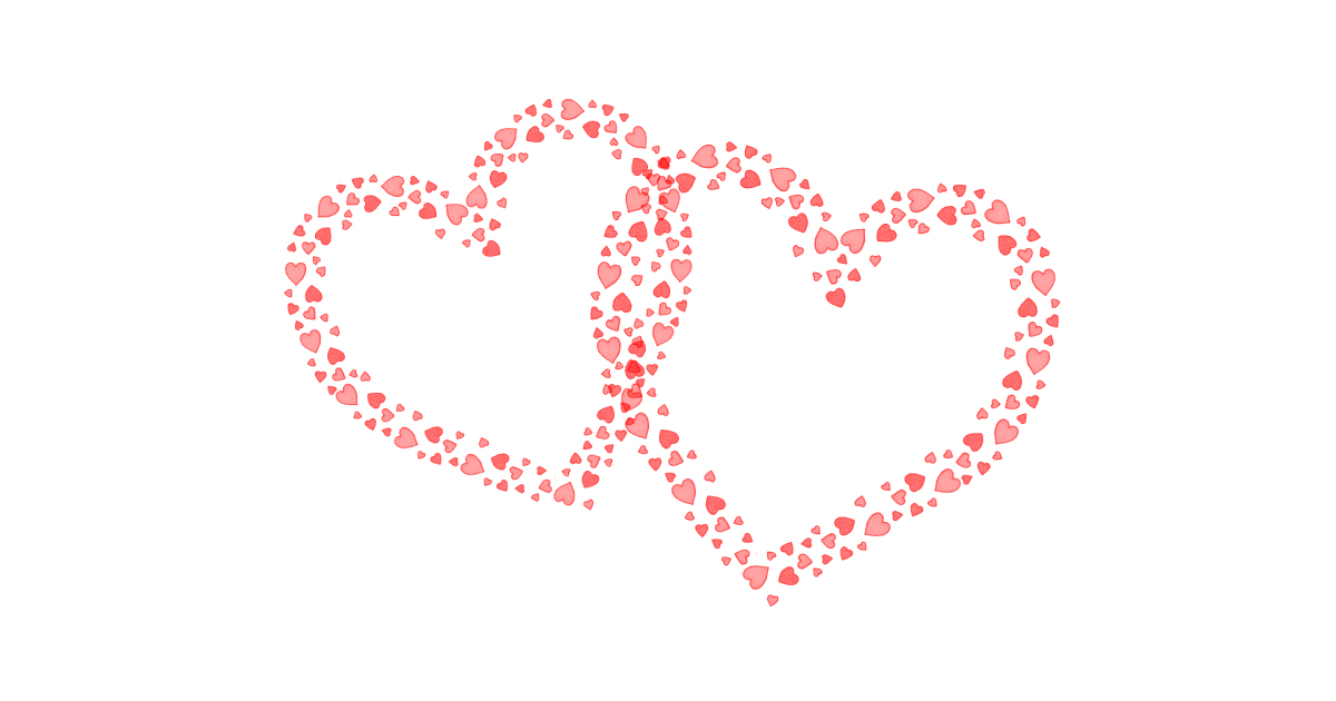 Illustration of 2 intertwined hearts, made up of smaller red hearts, on a white background. Source: https://pixabay.com/illustrations/valentine-s-day-love-hearts-in-love-1986203/